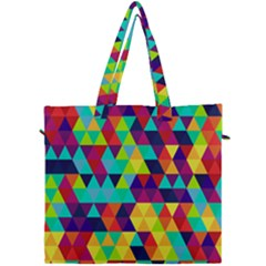 Bright Color Triangles Seamless Abstract Geometric Background Canvas Travel Bag by Alisyart