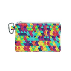Bright Color Triangles Seamless Abstract Geometric Background Canvas Cosmetic Bag (small)
