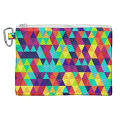 Bright Color Triangles Seamless Abstract Geometric Background Canvas Cosmetic Bag (xl)