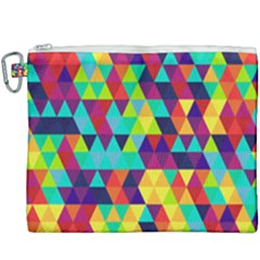 Bright Color Triangles Seamless Abstract Geometric Background Canvas Cosmetic Bag (xxxl)