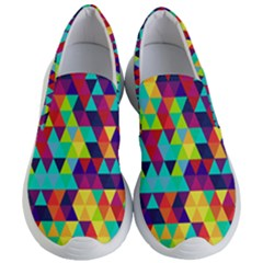 Bright Color Triangles Seamless Abstract Geometric Background Women s Lightweight Slip Ons