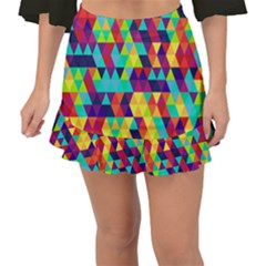 Bright Color Triangles Seamless Abstract Geometric Background Fishtail Mini Chiffon Skirt