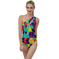 Bright Color Triangles Seamless Abstract Geometric Background To One Side Swimsuit