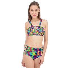 Bright Color Triangles Seamless Abstract Geometric Background Cage Up Bikini Set