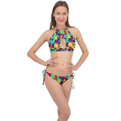 Bright Color Triangles Seamless Abstract Geometric Background Cross Front Halter Bikini Set