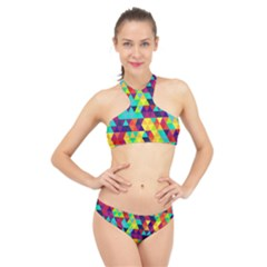 Bright Color Triangles Seamless Abstract Geometric Background High Neck Bikini Set