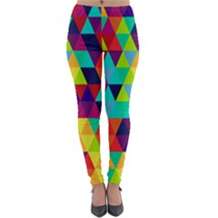Bright Color Triangles Seamless Abstract Geometric Background Lightweight Velour Leggings