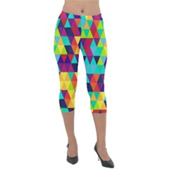 Bright Color Triangles Seamless Abstract Geometric Background Lightweight Velour Capri Leggings