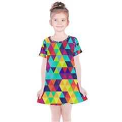 Bright Color Triangles Seamless Abstract Geometric Background Kids  Simple Cotton Dress