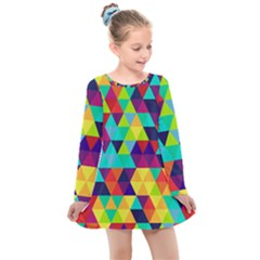 Bright Color Triangles Seamless Abstract Geometric Background Kids  Long Sleeve Dress
