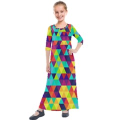Bright Color Triangles Seamless Abstract Geometric Background Kids  Quarter Sleeve Maxi Dress