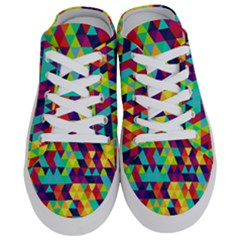 Bright Color Triangles Seamless Abstract Geometric Background Half Slippers