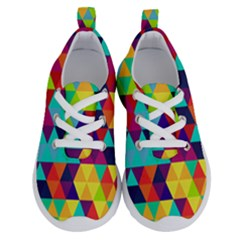 Bright Color Triangles Seamless Abstract Geometric Background Running Shoes