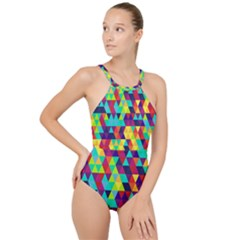 Bright Color Triangles Seamless Abstract Geometric Background High Neck One Piece Swimsuit