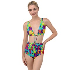 Bright Color Triangles Seamless Abstract Geometric Background Tied Up Two Piece Swimsuit
