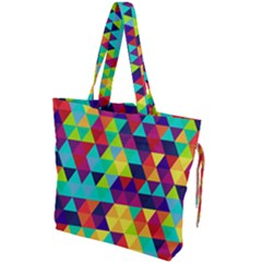 Bright Color Triangles Seamless Abstract Geometric Background Drawstring Tote Bag