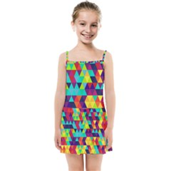 Bright Color Triangles Seamless Abstract Geometric Background Kids Summer Sun Dress