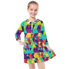Bright Color Triangles Seamless Abstract Geometric Background Kids  Quarter Sleeve Shirt Dress
