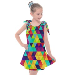 Bright Color Triangles Seamless Abstract Geometric Background Kids  Tie Up Tunic Dress
