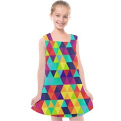 Bright Color Triangles Seamless Abstract Geometric Background Kids  Cross Back Dress