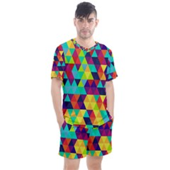 Bright Color Triangles Seamless Abstract Geometric Background Men s Mesh Tee And Shorts Set