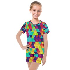 Bright Color Triangles Seamless Abstract Geometric Background Kids  Mesh Tee And Shorts Set
