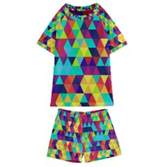 Bright Color Triangles Seamless Abstract Geometric Background Kids  Swim Tee And Shorts Set