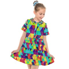 Bright Color Triangles Seamless Abstract Geometric Background Kids  Short Sleeve Shirt Dress