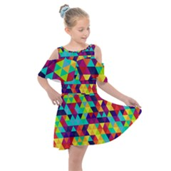 Bright Color Triangles Seamless Abstract Geometric Background Kids  Shoulder Cutout Chiffon Dress