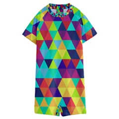 Bright Color Triangles Seamless Abstract Geometric Background Kids  Boyleg Half Suit Swimwear