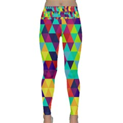 Bright Color Triangles Seamless Abstract Geometric Background Lightweight Velour Classic Yoga Leggings