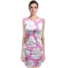 Beauty Flower Floral Pink Classic Sleeveless Midi Dress