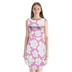 Beauty Flower Floral Pink Sleeveless Chiffon Dress