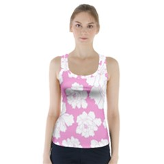 Beauty Flower Floral Pink Racer Back Sports Top