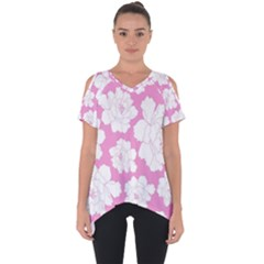 Beauty Flower Floral Pink Cut Out Side Drop Tee