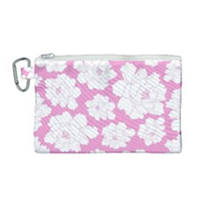 Beauty Flower Floral Pink Canvas Cosmetic Bag (medium) by Alisyart
