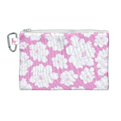 Beauty Flower Floral Pink Canvas Cosmetic Bag (large) by Alisyart