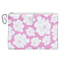 Beauty Flower Floral Pink Canvas Cosmetic Bag (xl) by Alisyart