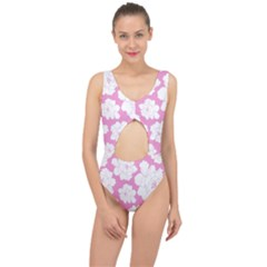 Beauty Flower Floral Pink Center Cut Out Swimsuit