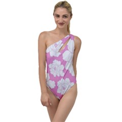 Beauty Flower Floral Pink To One Side Swimsuit