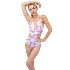 Beauty Flower Floral Pink Plunging Cut Out Swimsuit