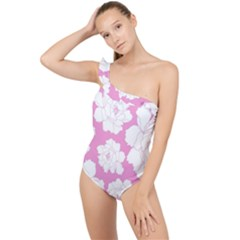 Beauty Flower Floral Pink Frilly One Shoulder Swimsuit