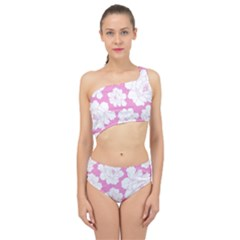 Beauty Flower Floral Pink Spliced Up Two Piece Swimsuit