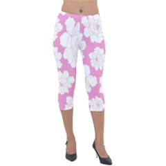 Beauty Flower Floral Pink Lightweight Velour Capri Leggings