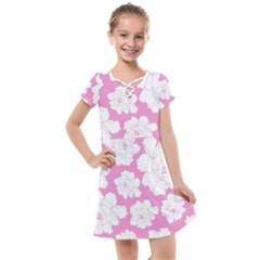 Beauty Flower Floral Pink Kids  Cross Web Dress