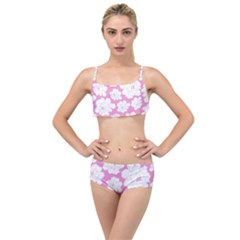 Beauty Flower Floral Pink Layered Top Bikini Set