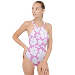 Beauty Flower Floral Pink High Neck One Piece Swimsuit