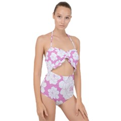 Beauty Flower Floral Pink Scallop Top Cut Out Swimsuit