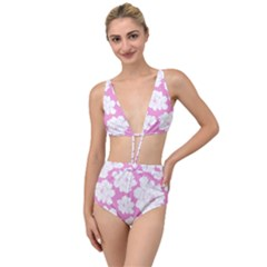 Beauty Flower Floral Pink Tied Up Two Piece Swimsuit by Alisyart