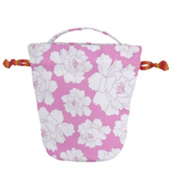 Beauty Flower Floral Pink Drawstring Bucket Bag